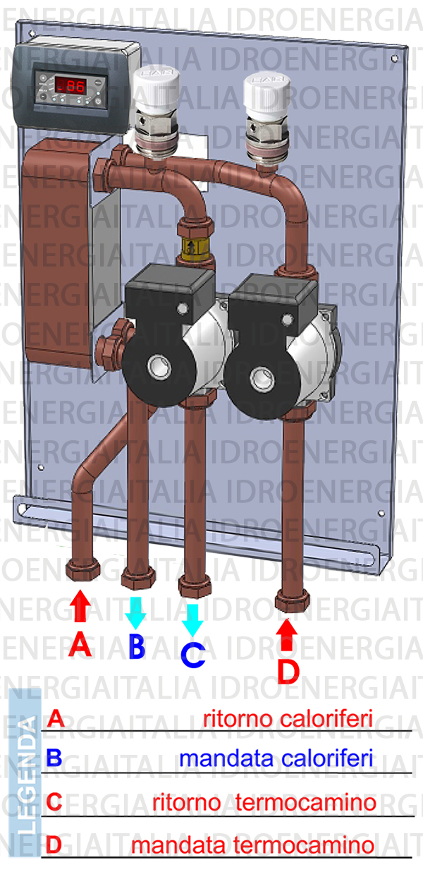 modulo mflux 310 modulo daassemblare scambio termico impianto circuito aperto termocamino caldaia legna pellet vaso chiuso caldaia gas