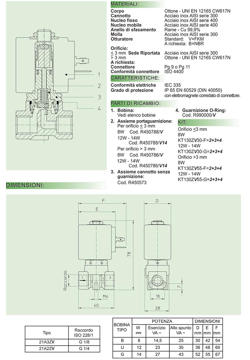 21A2ZV15D 21A2ZV20D 21A2ZV20G 21A2ZV25D 21A2ZV25G 21A2ZV30D 21A2ZV30G 21A2ZV45D 21A2ZV45G 21A2ZV55D 21A2ZV55G Elettrovalvole ODE serie 21A normalmente aperta comando diretto olii leggeri benzina gasolio olii combustibili aria acqua gas inerti
