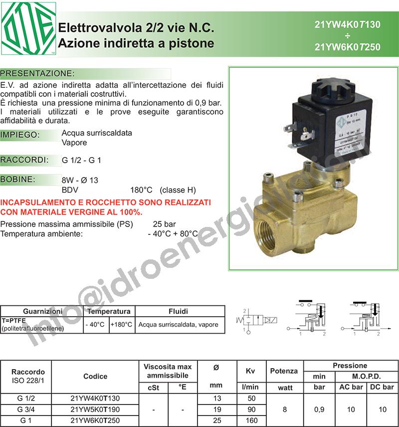 21yw4k0t130 elettrovalvola ode 220v 1 2 a pistoni vapore for Rame vs cpvc per linee d acqua