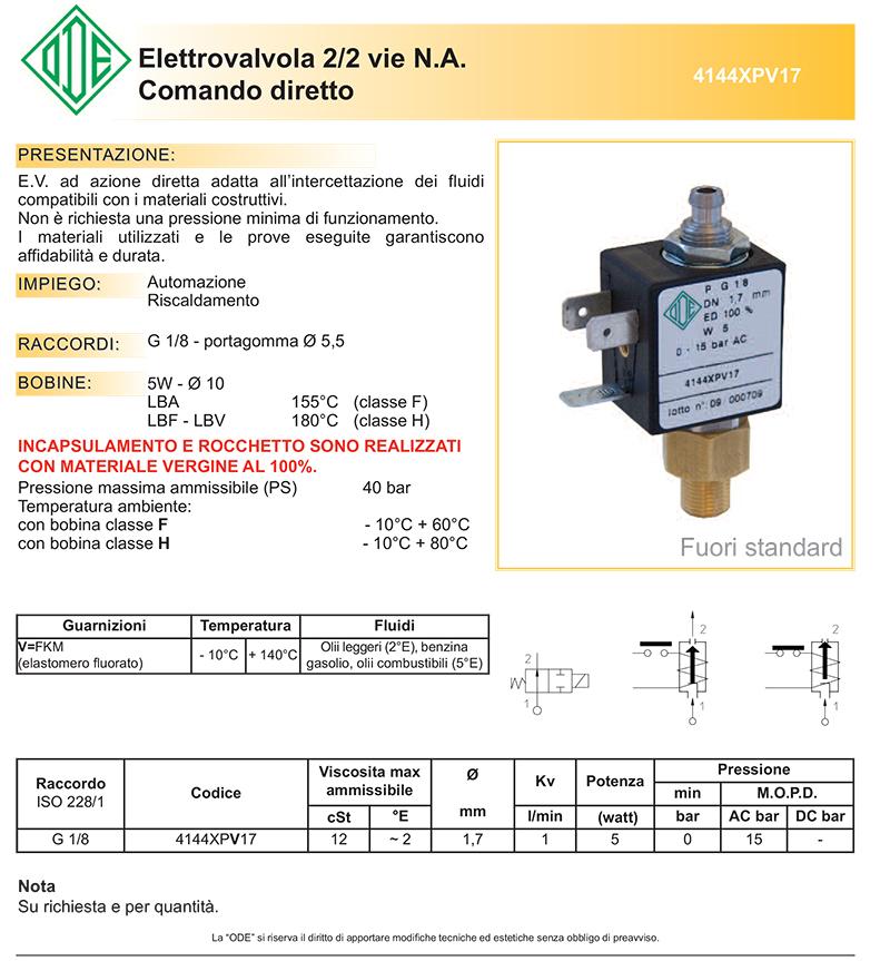 4144XPV17 elettrovalvola ODE e 2 vie normalmente aperta comando diretto benzina gasolio olii leggeri olii combustibili